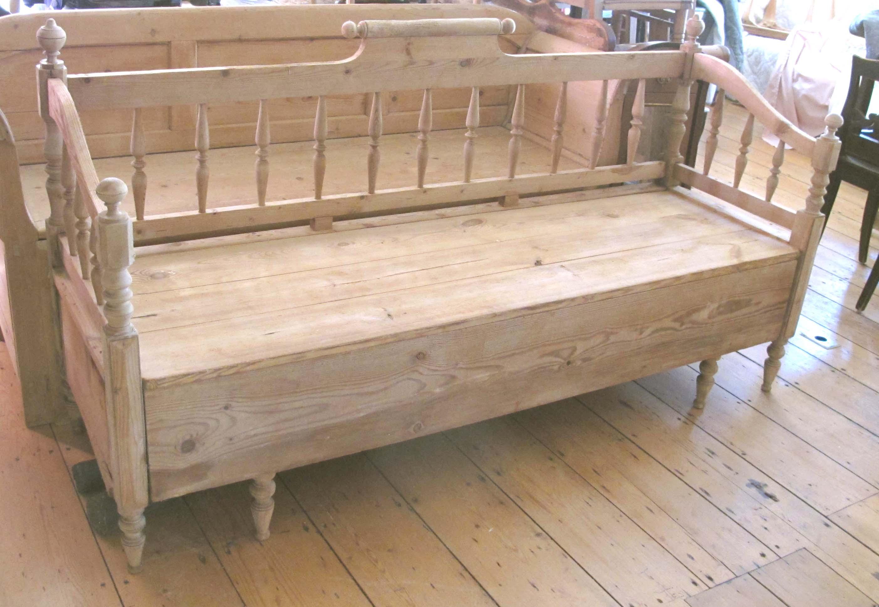 Antique Scandinavian Bench Seat Sleeping